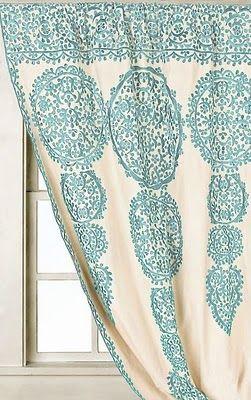 Curtains. Aqua curtains.