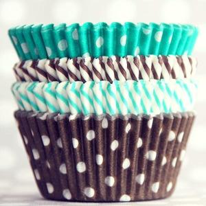 Brown & Aqua Cupcake Liners
