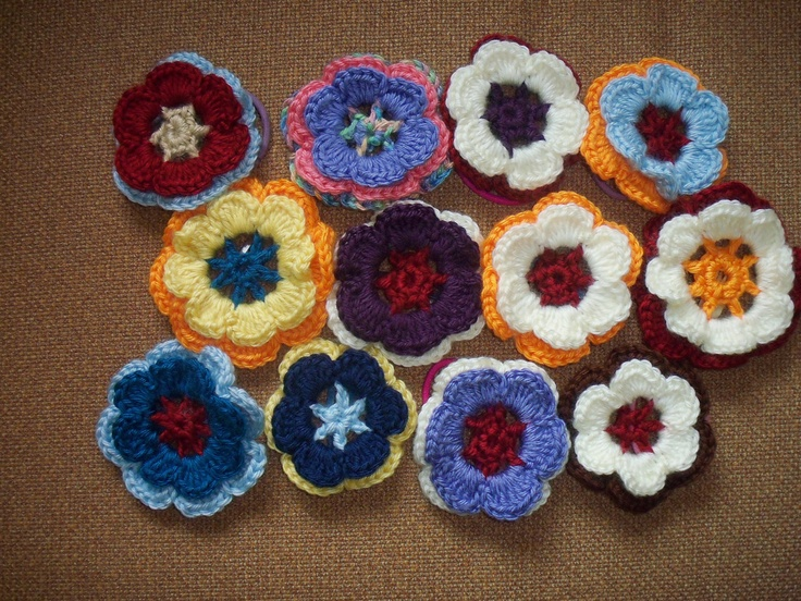 Crochet Hair Ties Pinterest : Crochet Flower Hair Tie/Clip AppliquEs To Crochet Pinterest