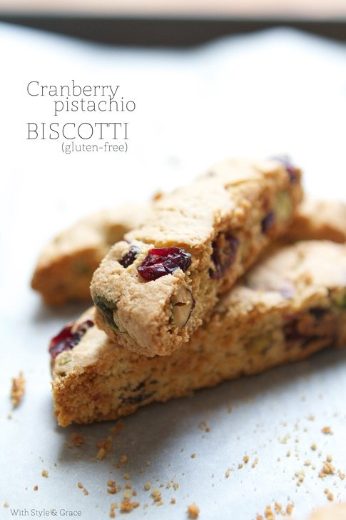 Gluten-free Cranberry and Pistachio Biscotti