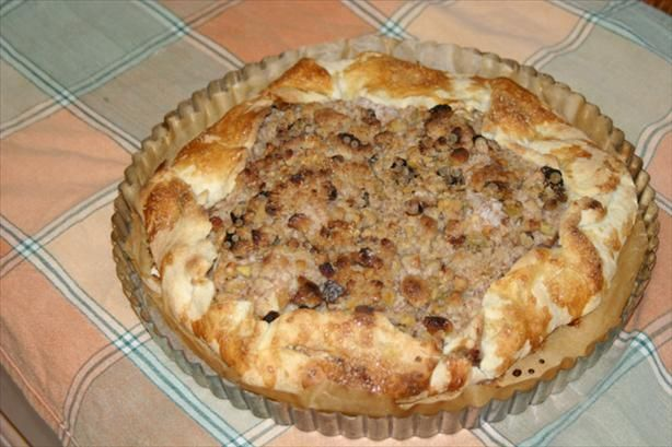 Apple Galette With Walnuts and Raisins and a Streusel Topping. Photo ...