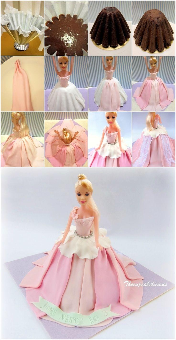 Торт принцесса с куклой своими руками пошаговый рецепт 50