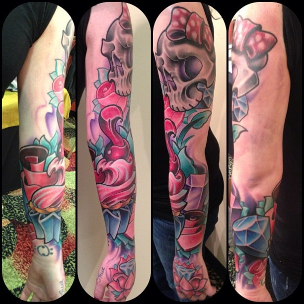Girly sleeve tattoos the image kid has it for Girly arm sleeve tattoos