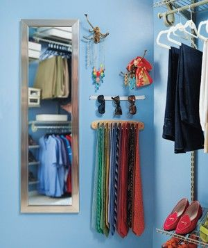 Some great ideas in this closet redesign, but I love the sunglasses storage idea. Looks like a piece of elastic thumb-tacked to the wall.
