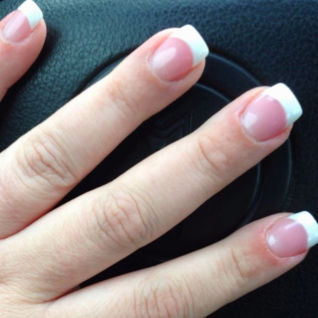 Solar Nails Pink And White Solar pink and white nails!