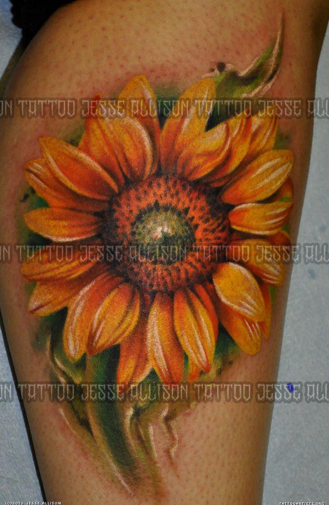 Sunflower TattoosRealistic Sunflower Tattoo On Shoulder