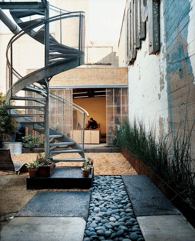 Spiral Staircase Into Courtyard Garden Outdoor Spaces