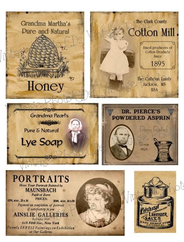 Primitive Farmhouse Pantry Jar Labels Set Sheet #93