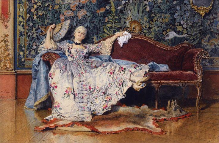 Eleuterio Pagliano, Лежащего Дама с веером (1876)