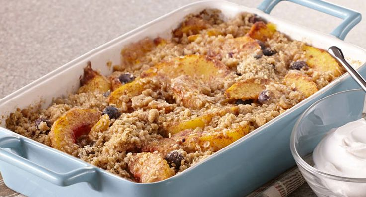 Peach Blueberry Crisp with quick oats