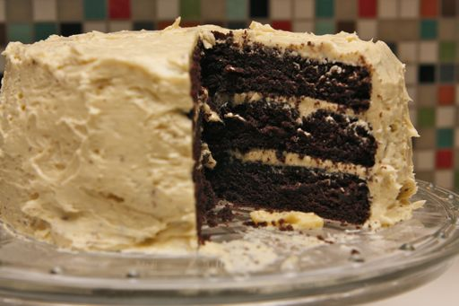 triple layer devil's food cake with buttercream frosting
