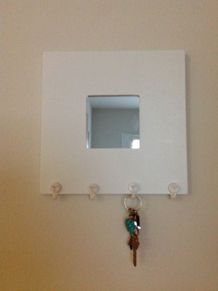 Diy key holder mirror from ikea hooks from ikea for Mirror key holder