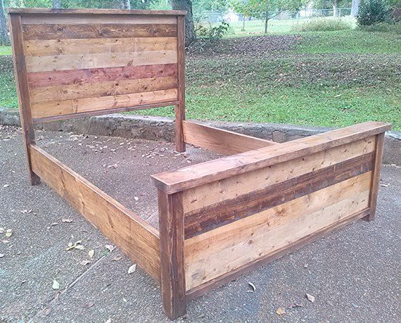 Reclaimed wooden queen bed Rustic bed frames