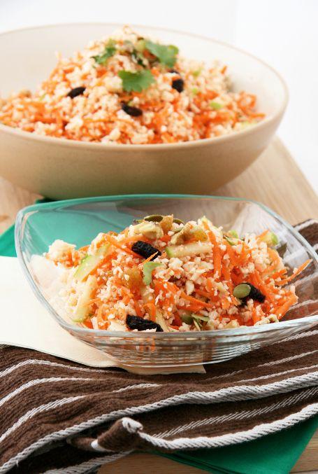 cauliflower detox salad- cauliflower, carrot, apple, cilantro, mint or ...
