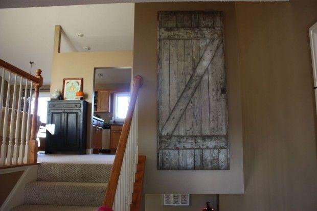 How to hang barn door on wall home pinterest for Hanging barn door in house