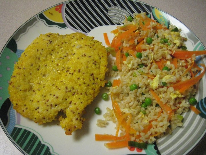 Baked chicken with mustard & panko and vegetable brown fried rice ...
