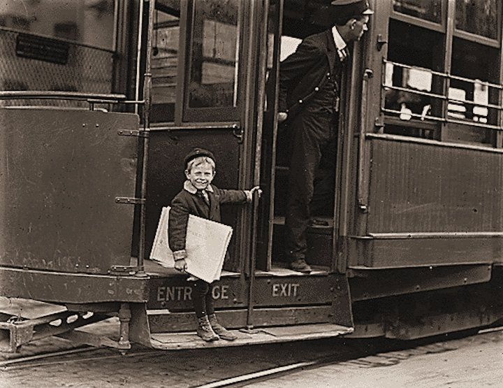Lewis W. Hine photography - child labor in America. 5 years old, 41 inches high. He jumps on and off moving trolley cars at the risk of his life. St. Louis, Missouri.