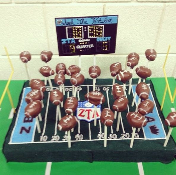 Football cake pops would be an awesome snack for a football themed Bid Day, NFL event, etc.