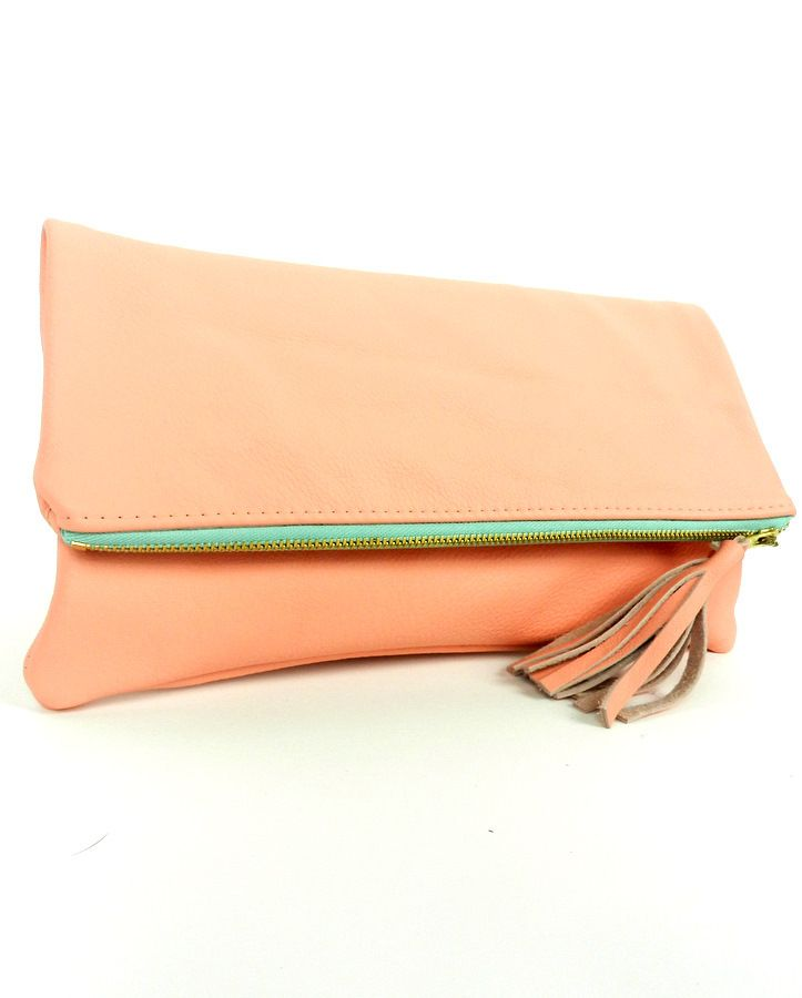pink pastel fold over clutch with sea green zipper