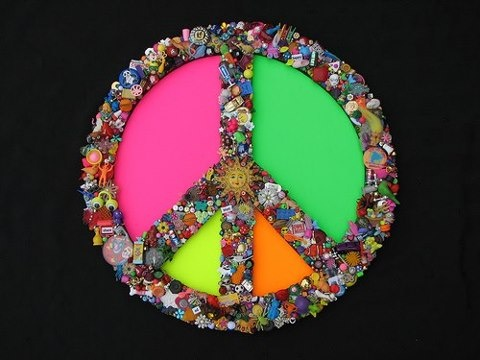 Neon peace sign