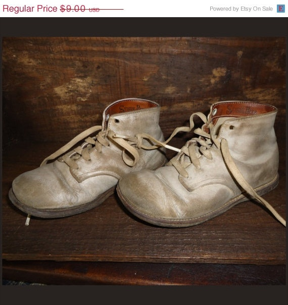 shoes circa 1950's Old white thick leather Stride Rite toddler shoes