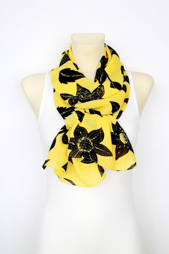 Yellow Floral Scarf  Fashion Scarf  Fabric Scarf  Women Shawl  Un  Fashion Scarf Fabric