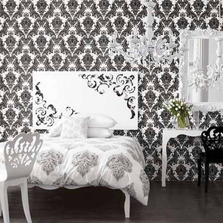 damask bedroom ebony ivory decor pinterest
