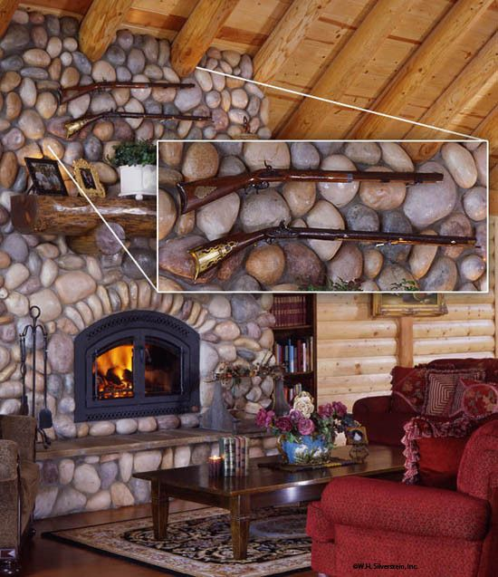 Log Home Stone Fireplace Cabin Love Pinterest