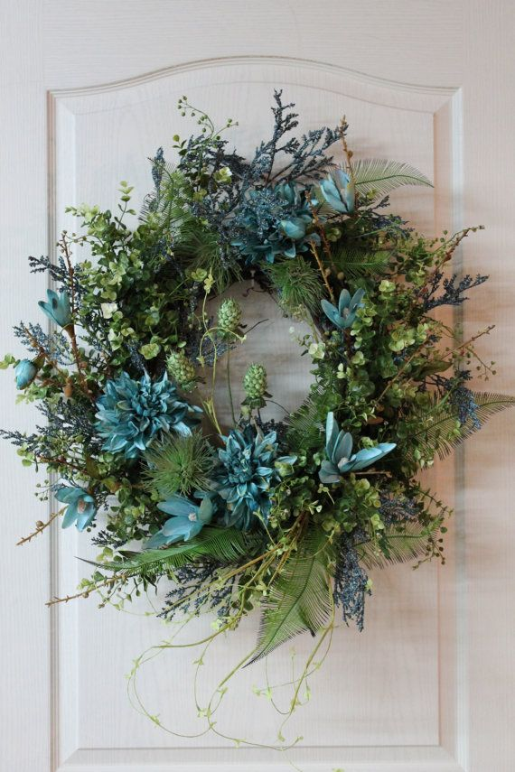 Beautiful Teal Blue And Lime Green Front Door Summer Wreath