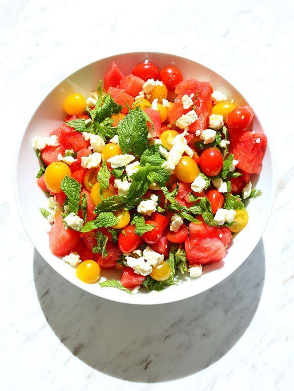 watermelon heirloom tomato feta and mint salad.