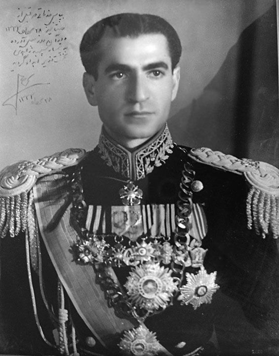 Mohammad Reza Shah autographs portrait for General Zahedi for leading a coup against Prime Minister Mossadegh in 1953.