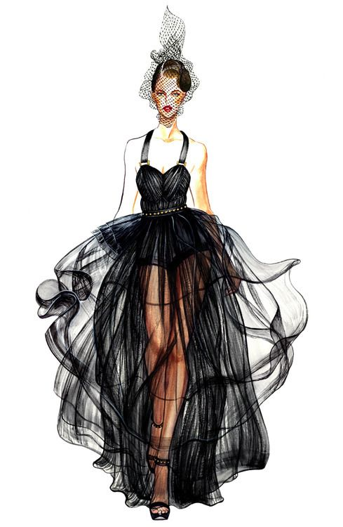 fashion, dress, design, black, sketch