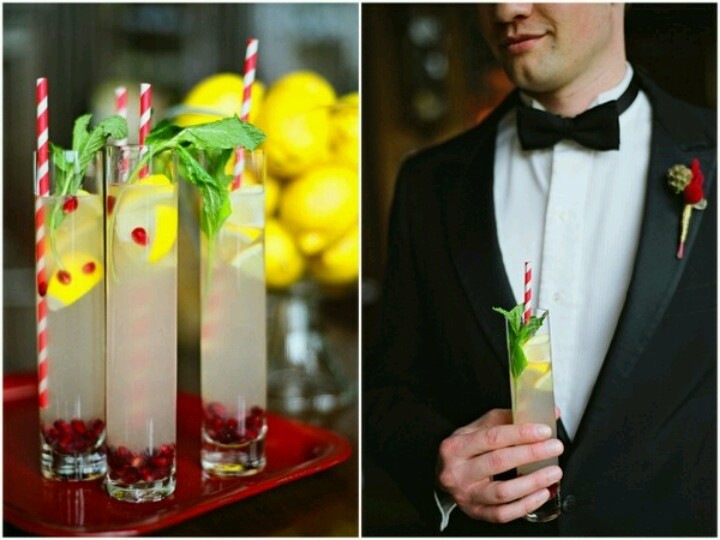 Pomegrante, lemon and mint spritzer | Yellow Red Orange Wedding | Pin ...