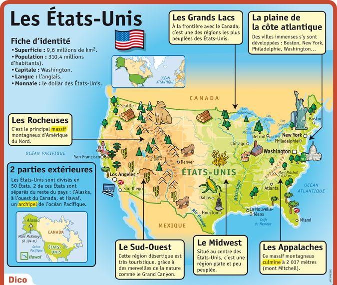 """Résultat de recherche d'images pour """"carte usa avec sites touristiques"""""""