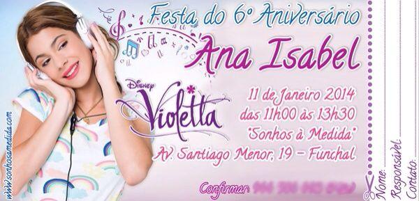 Convite de Aniversário - Violetta
