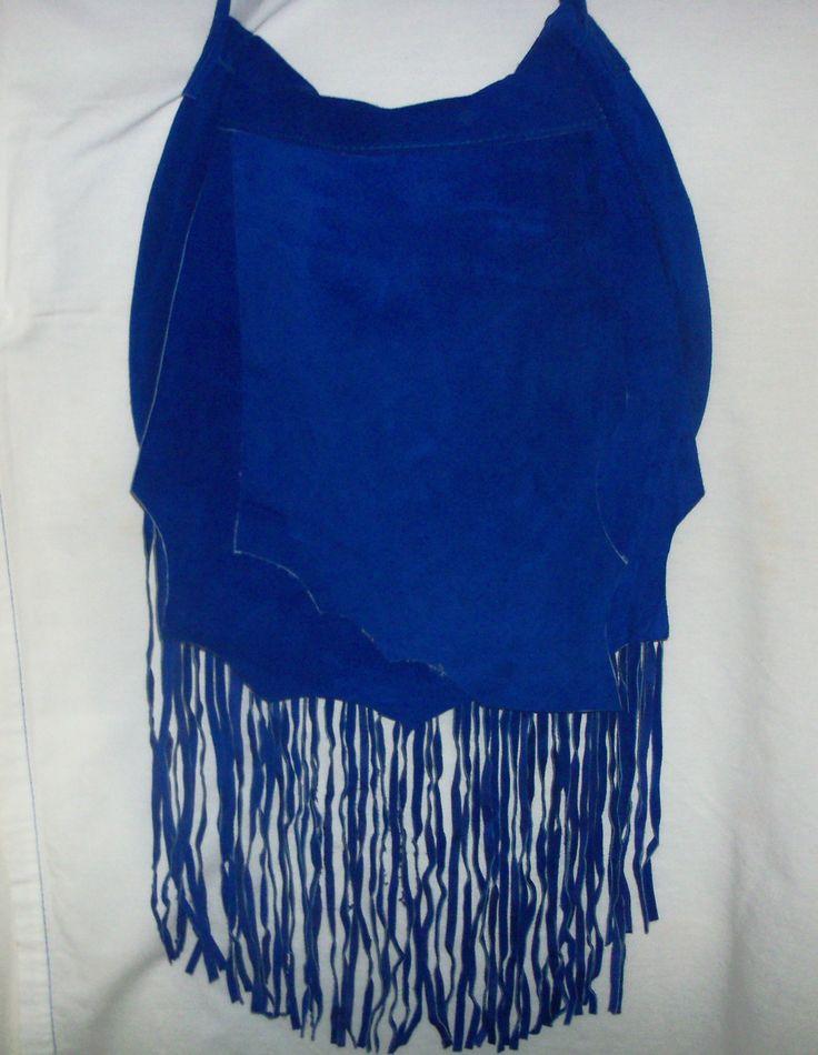 Royal Blue Handmade Suede Leather Fringed Shoulder Bag