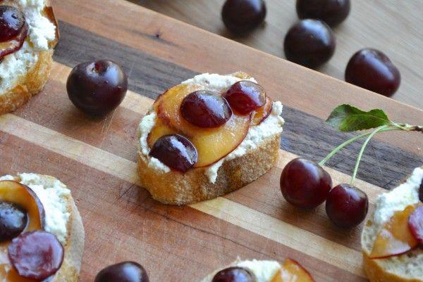 Cherry and Plum Bruschetta with sweet cashew ricotta cheese