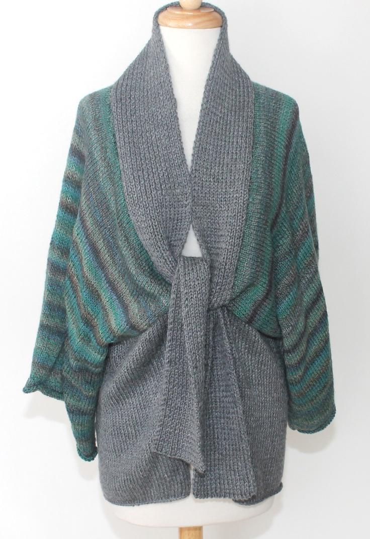Knitting Pattern For Kimono Wrap : Vintage 70s Mod Hippie Kimono Wrap Knit Sweater Wide Sleeve M
