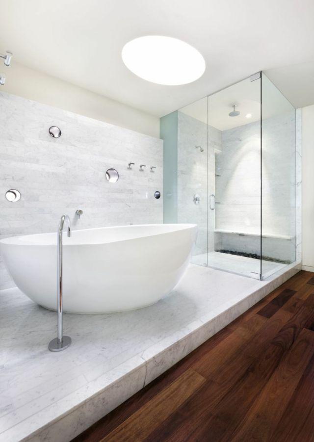 Salle de bain minimaliste blanche cuisines pinterest - Salle de bain blanche ...