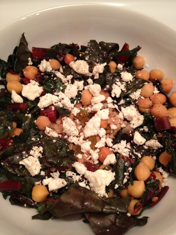 Israeli couscous with swiss chard, feta, and golden raisins