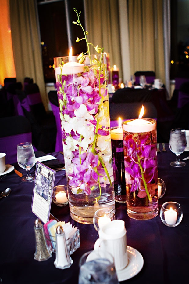 Submerged hot pink orchid centerpieces books worth