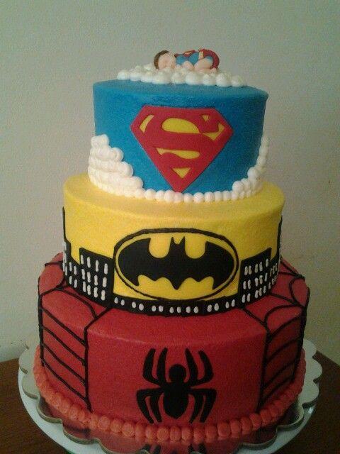 superhero baby shower cake pow