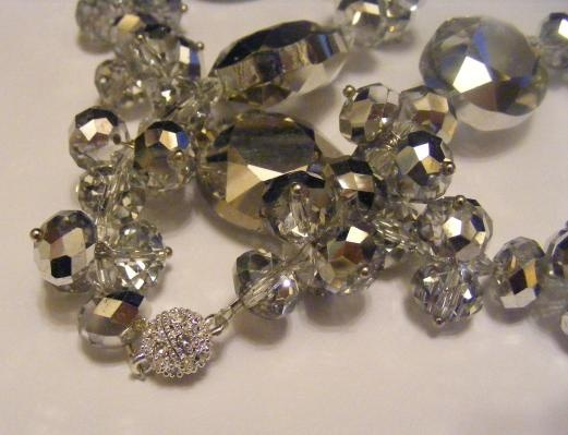 SALE!!!  Silver and Foil Glass Cluster Necklace