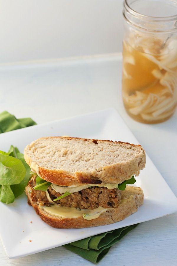 Meatloaf Sandwiches with Pickled Onions and Green Onion Aioli