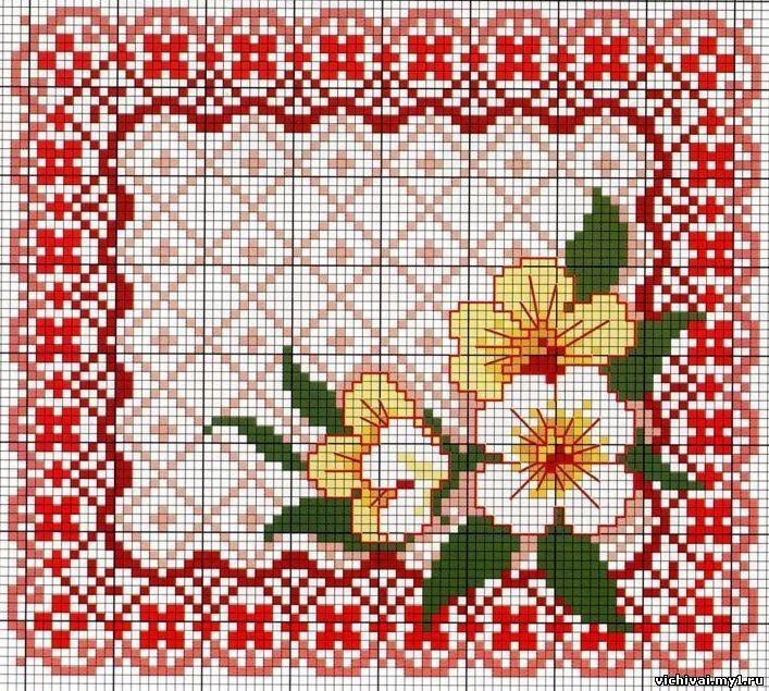 Вышивка крестом салфетки схемы фото 54