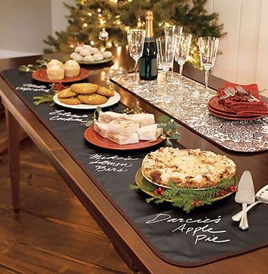 Chalboard table cloth - great for potlucks