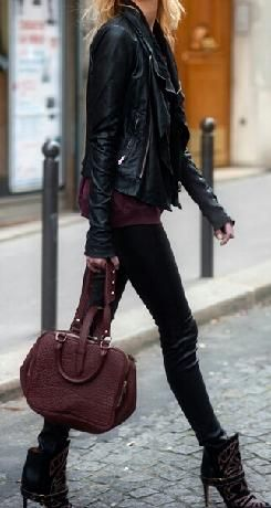 StyleTag fall fashion. Leather biker jacket.