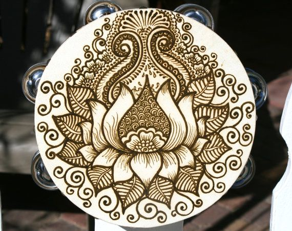Mehndi Lotus Designs : Lotus henna tambourine