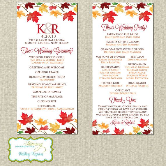 Falling in Love Autumn Wedding Programs Personalized