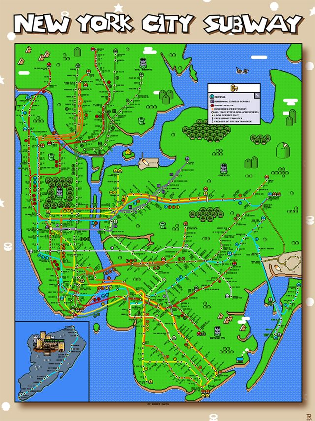 New York City Subway Map In The Style Of Super Mario World